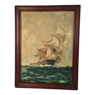 Vintage Nautical Ship Oil Painting 1939