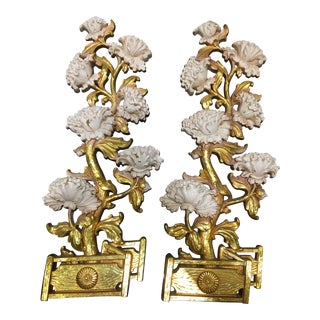 Syroco Gilt White Peonies Wall Plaques - A Pair