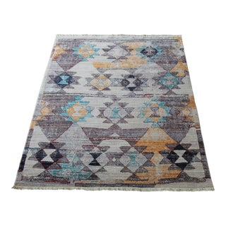 Diagonal Patterned Multicolored Kilim Rug - 5′3″ × 7′7″
