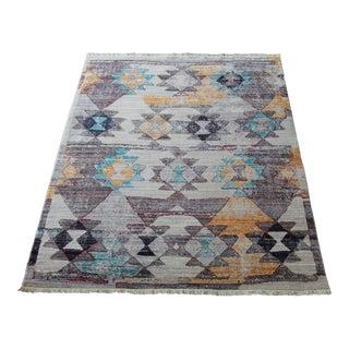 Diagonal Patterned Multicolored Kilim Rug - 5′3″ × 7′7″
