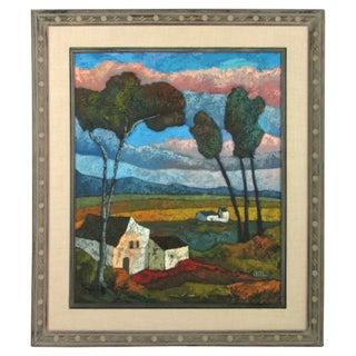 Vintage Farm Landscape Painting