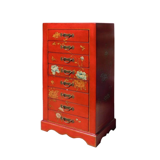 Miniature Red Vinyl Flower & Butterflies Chest of Drawers - Image 3 of 6