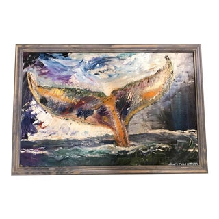 "Whale Tale Angel 30""x20"" Original Oil Painting Framed"