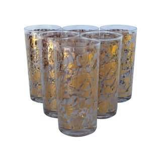 Mid-Century Gold Foil Bar Glasses - Set of 6