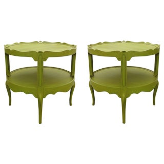 Vintage 2-Tiered Scalloped Side Tables - A Pair