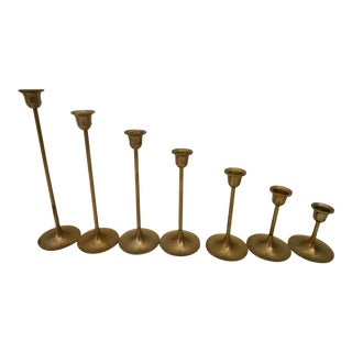 Vintage Graduated Tulip Style Brass Candlestick Holders - Set of 7