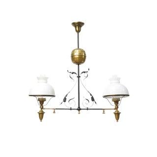 French Iron & Brass Oil Light Fixture