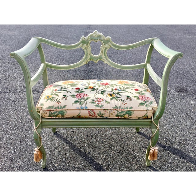 Antique Green French Provincial Carved Wood Small Bench Settee - Image 11 of 11
