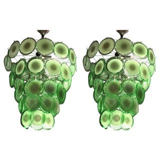 Art Deco Style Circular Murano Glass Sphere Chandeliers - A Pair