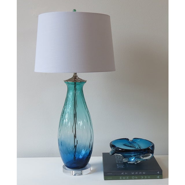 Turquoise Green/Blue Tall Blown Glass Lamp - Image 4 of 4
