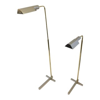 Nickel and Brass Adjustable Floor Lamps by Casella - A Pair