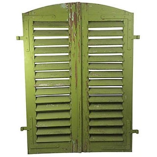 Arched French Green Shutters - A Pair
