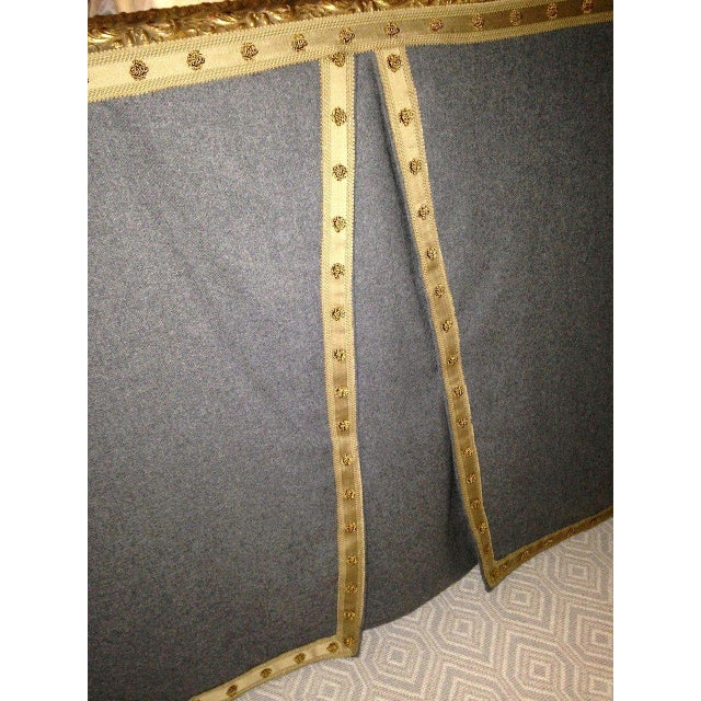 Wool Felt and Gold Braid Skirted Dressing Table with Antique French Mirror Top - Image 6 of 8
