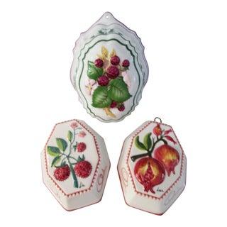 Vintage Ceramic Fruit Hanging Kitchen Molds - Set of 3