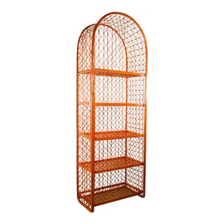 1960's Vintage Mid Century Modern Orange Faux Wicker Arched Shelf Display and Bookcase