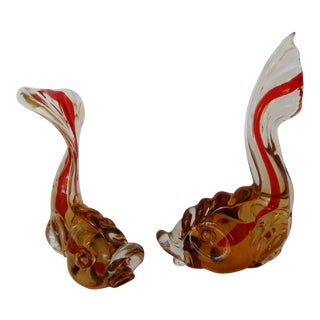 Murano Glass Fish Figurines - a Pair
