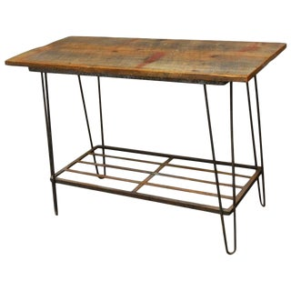 French Industrial Hairpin Leg Console Table