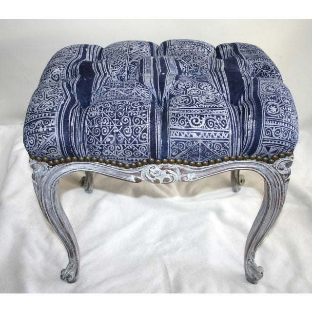 Image of French Tufted Hand-Carved Vanity Bench