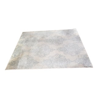 Very Large Damask Ivory and Blue Rug - 8′ × 10′