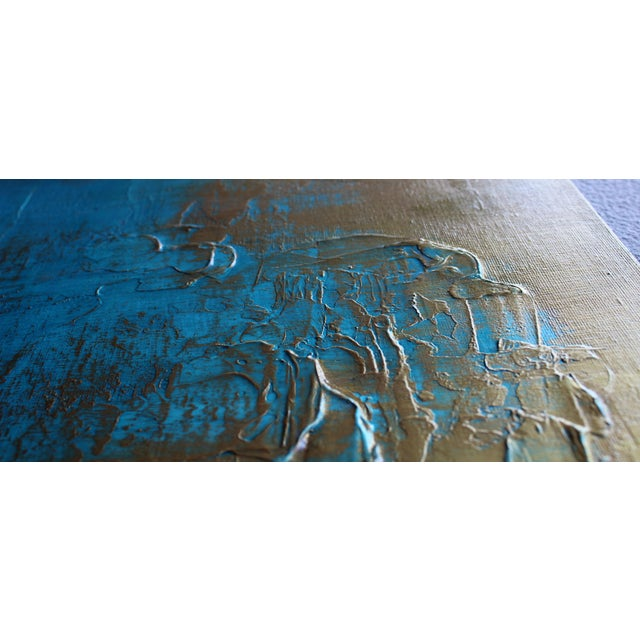 """Original """"Bronzed Earth II"""" Abstract Modern Turquoise Blue Bronze Metallic Textured Painting on Canvas - Image 2 of 4"""