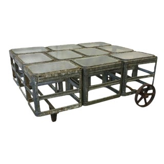 Vintage Industrial Coffee Table With Iron Wheels