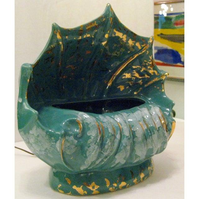 Turquoise Ceramic Shell Shape Table Lamp - Image 4 of 6