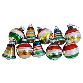 1960s Christmas Ornaments w/Box - Set of 10