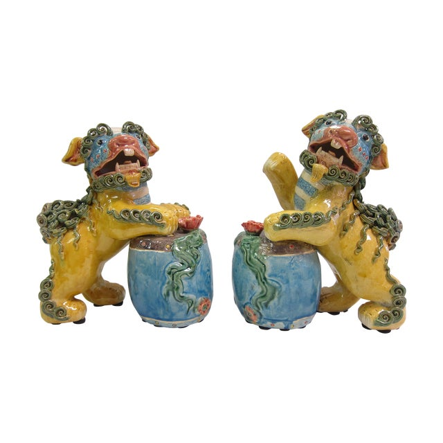 Vintage Bright Colored Foo Dogs With Drums - Pair - Image 1 of 6
