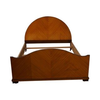 Vintage Art Deco Style Satin Wood Full Size Bed