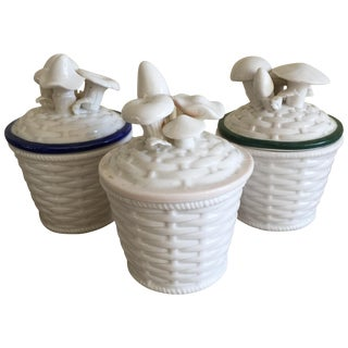 Vintage Ceramic Mushroom Canisters - Set of 3