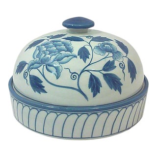 Blue and White Peony Domed Porcelain Decorative Dish