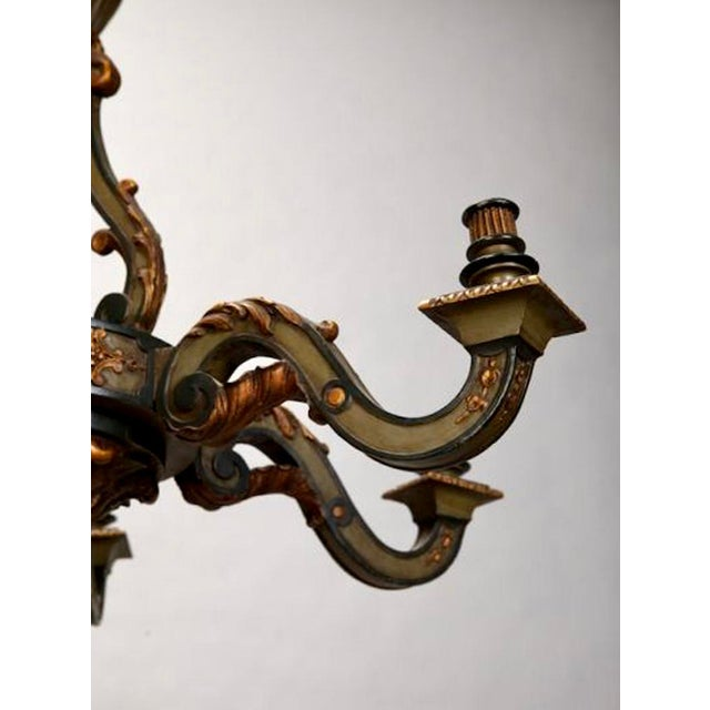 French Carved Wood Painted and Gilded Six-Light Chandelier, 1930's - Image 5 of 5