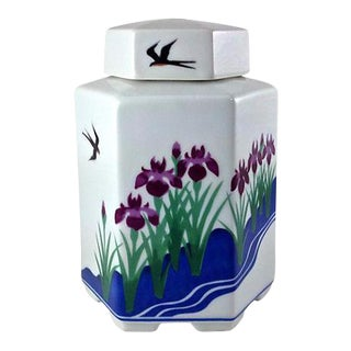 Japanese Hand-Painted Tea Caddy