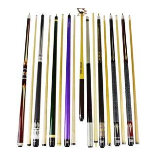 2 Piece Billiard Pool Cue Sticks & Bridge - Set of 9