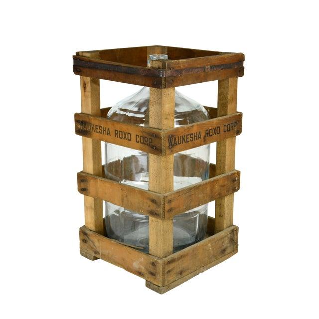 Vintage Water Jug and Crate - Image 1 of 2