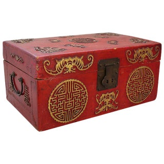 Red Lacquer and Gilt Gold Box - Circa 1880 China