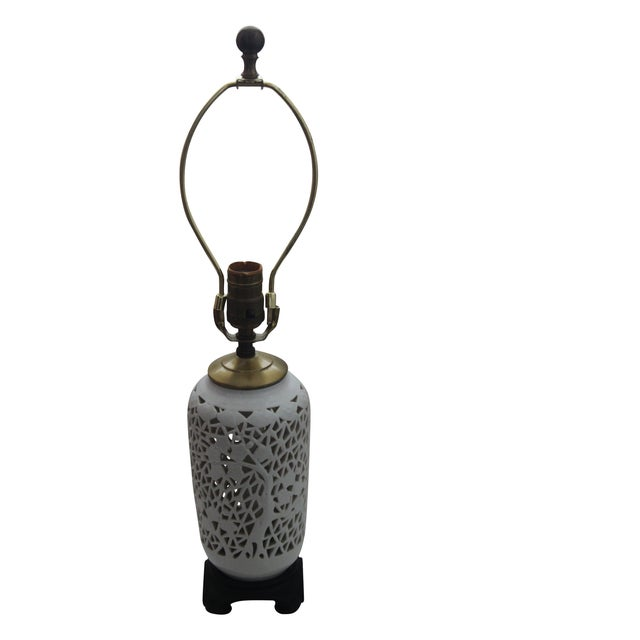 Image of Vintage Blanc De Chine Cherry Blossom Lamp
