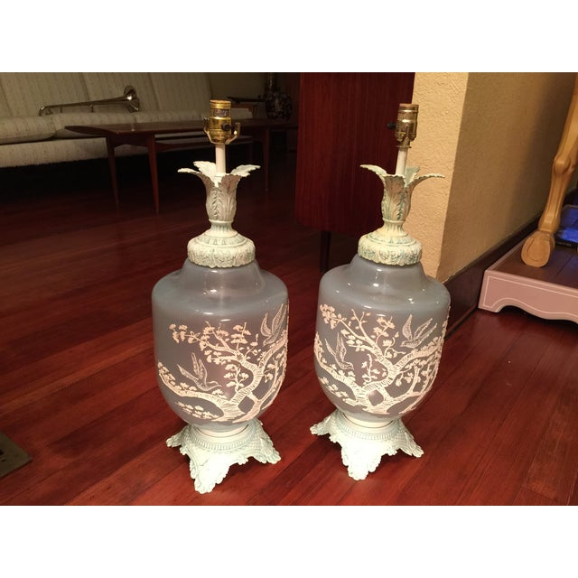 Image of Vintage Glass Table Lamps - A Pair