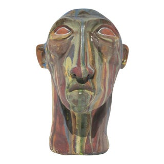 Human Head Multicolored Clay Figure Tribal Bust Sculpture
