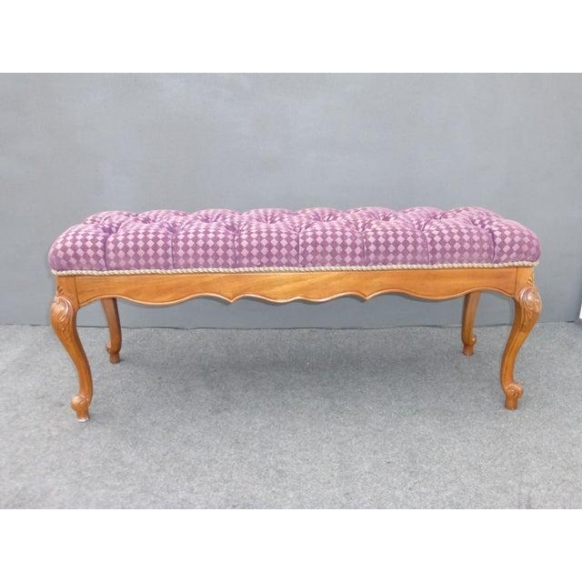 French Purple Velvet Diamond Tufted Bedside Bench - Image 4 of 8
