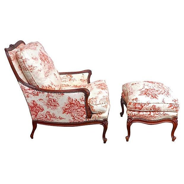 Antique French Toile Fauteuil And Ottoman - Image 2 of 10
