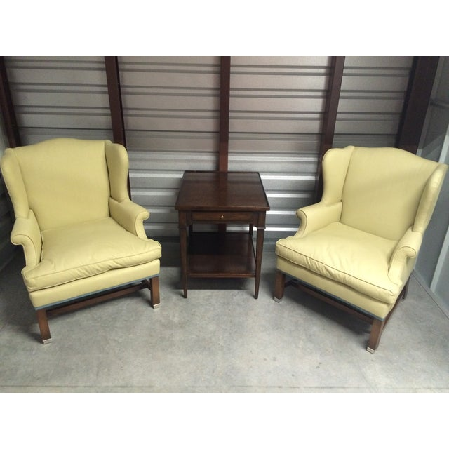 Vintage Pale Green Wing Chairs - A Pair - Image 2 of 4