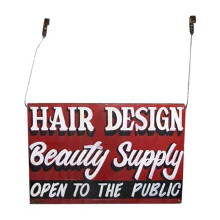 Double Sided Hanging Metal Beauty Supply Sign