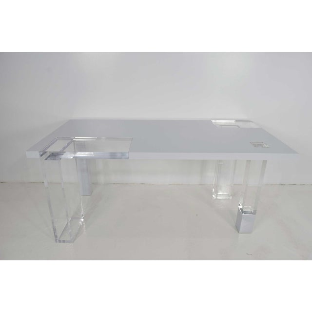 Unique Signed Lucite and White Lacquer Desk or Table - Image 2 of 10