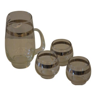 Dorothy Thorpe Glass and Silver Band Martini Pitcher and Four Matching Glasses