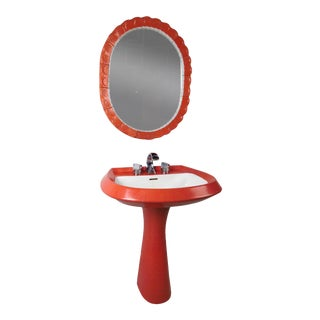 Pozzi Italian Modern Orange Pedestal Sink & Mirror