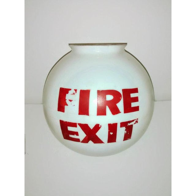 Old Mid-Century Fire Exit Glass Shade From Theater - Image 2 of 5