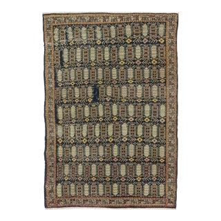 Vintage Knotted Turkish Rug - 3′9″ × 5′7″