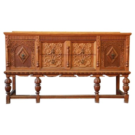 Antique Spanish Revival Oak Sideboard Buffet - Image 1 of 8