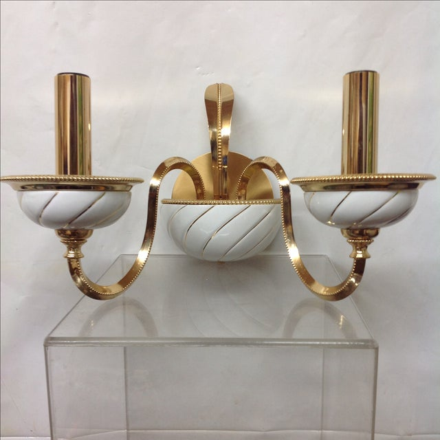 Italian Ceramic Wall Sconces : F Fabbian Italian Brass & Ceramic Sconces - Pair Chairish